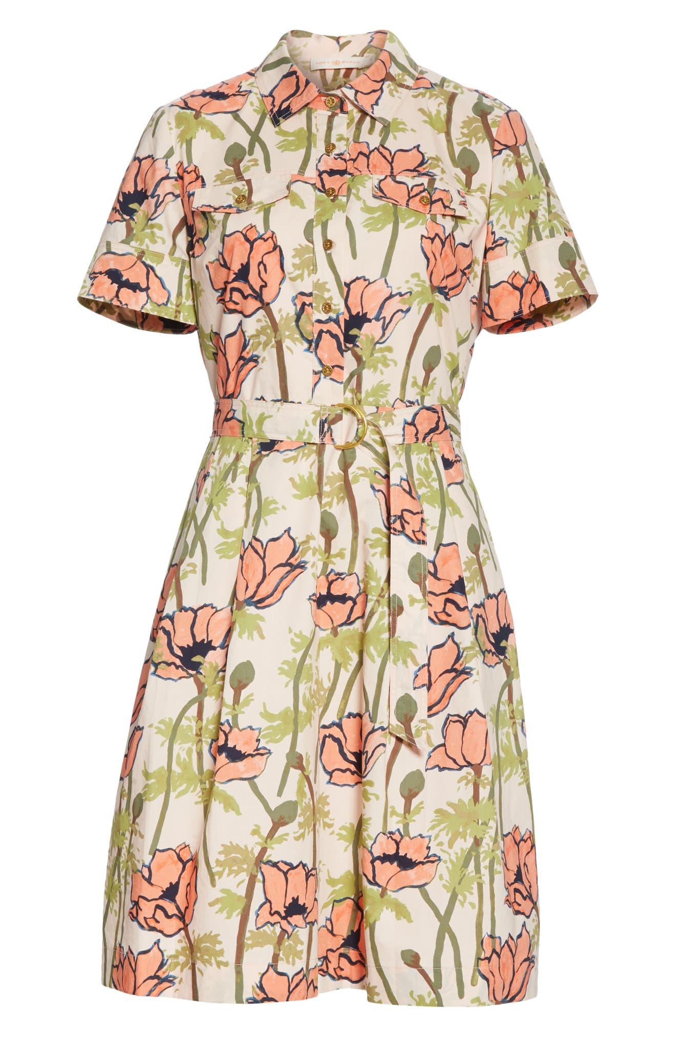 64101447da Tory Burch Floral Poplin Shirtdress | Nordstrom