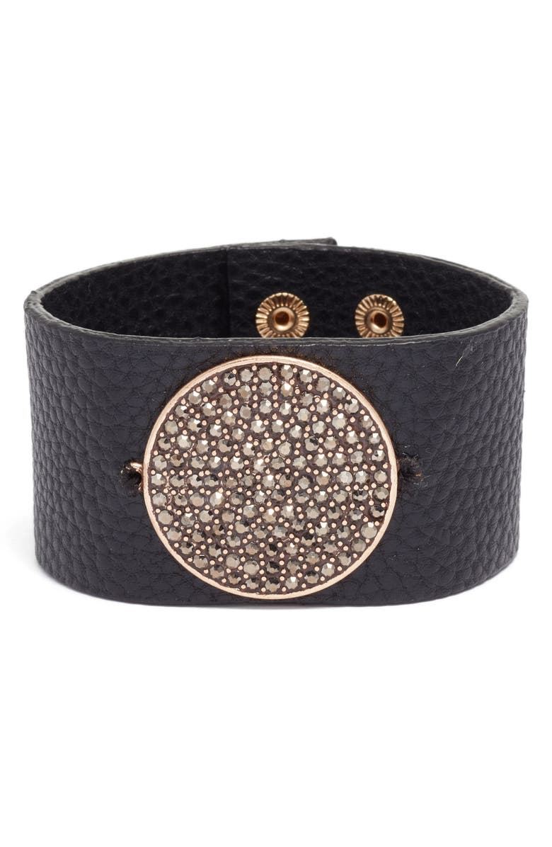 TREASURE & BOND Pavé Disc Leather Cuff, Main, color, 001
