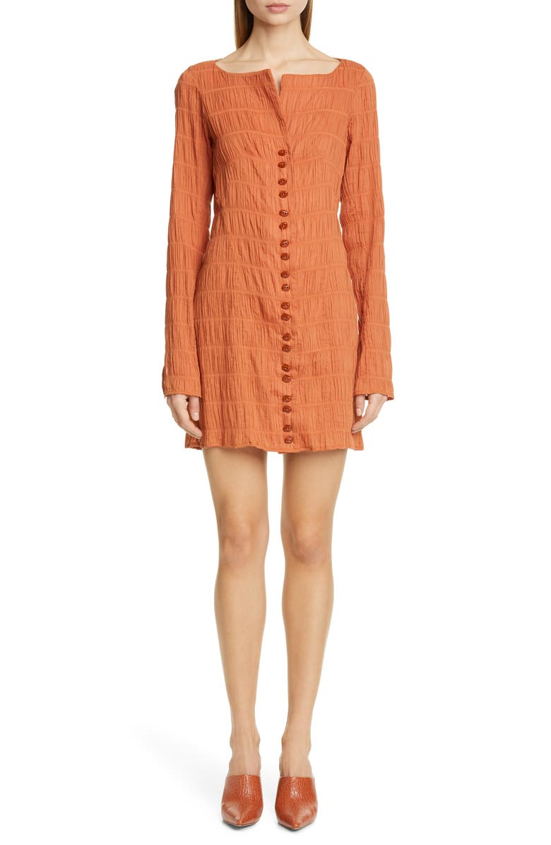 CULT GAIA Lafina Long Sleeve Crinkle Minidress, Main, color, SPICE