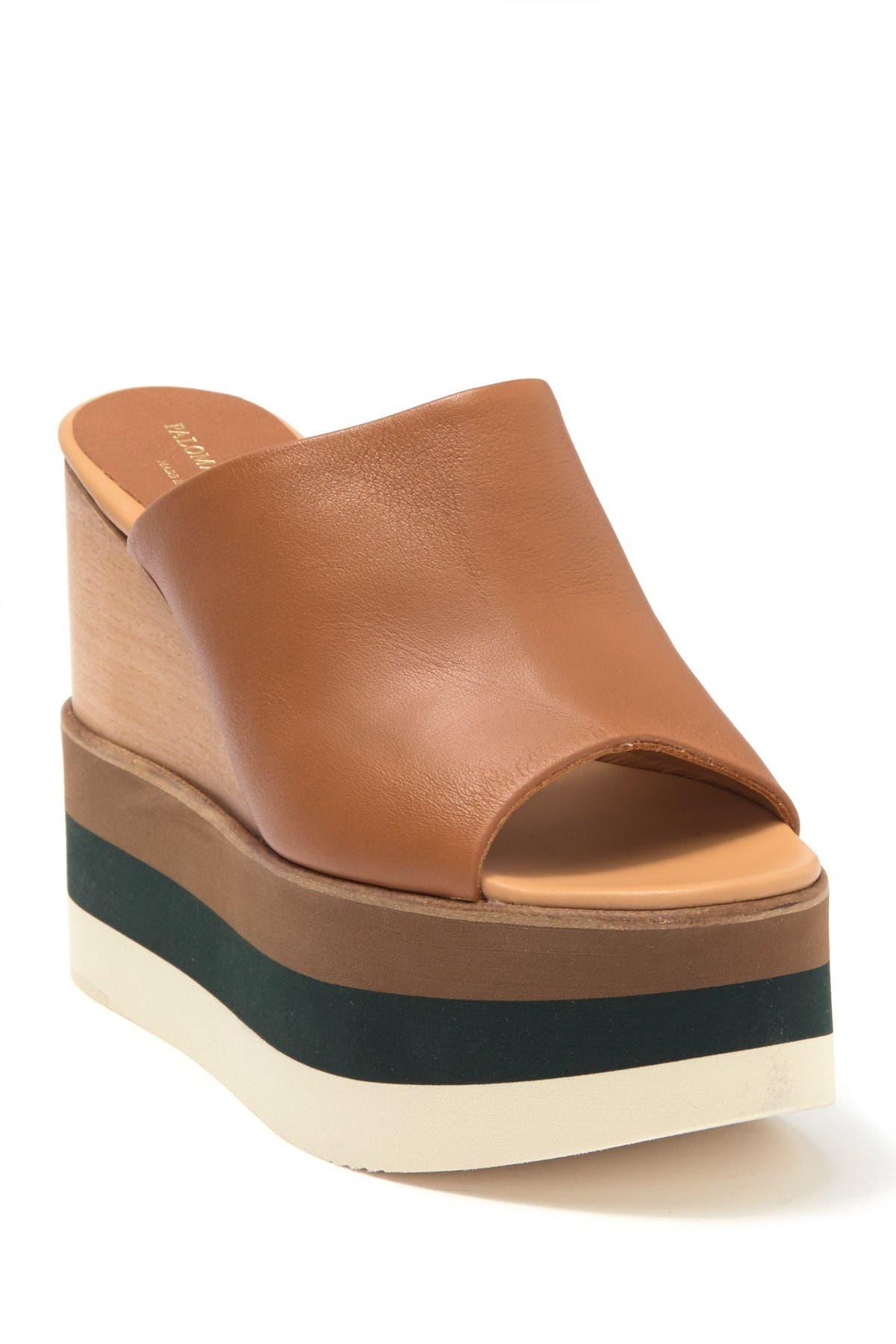 Image of Paloma Barcelo Daria Leather Wedge Mule