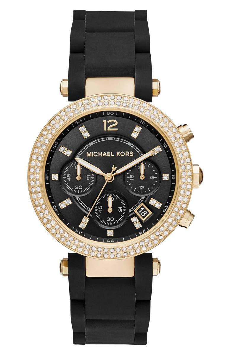 MICHAEL KORS 'Parker' Bracelet Watch, 39mm, Main, color, BLACK/ SUNRAY/ GOLD