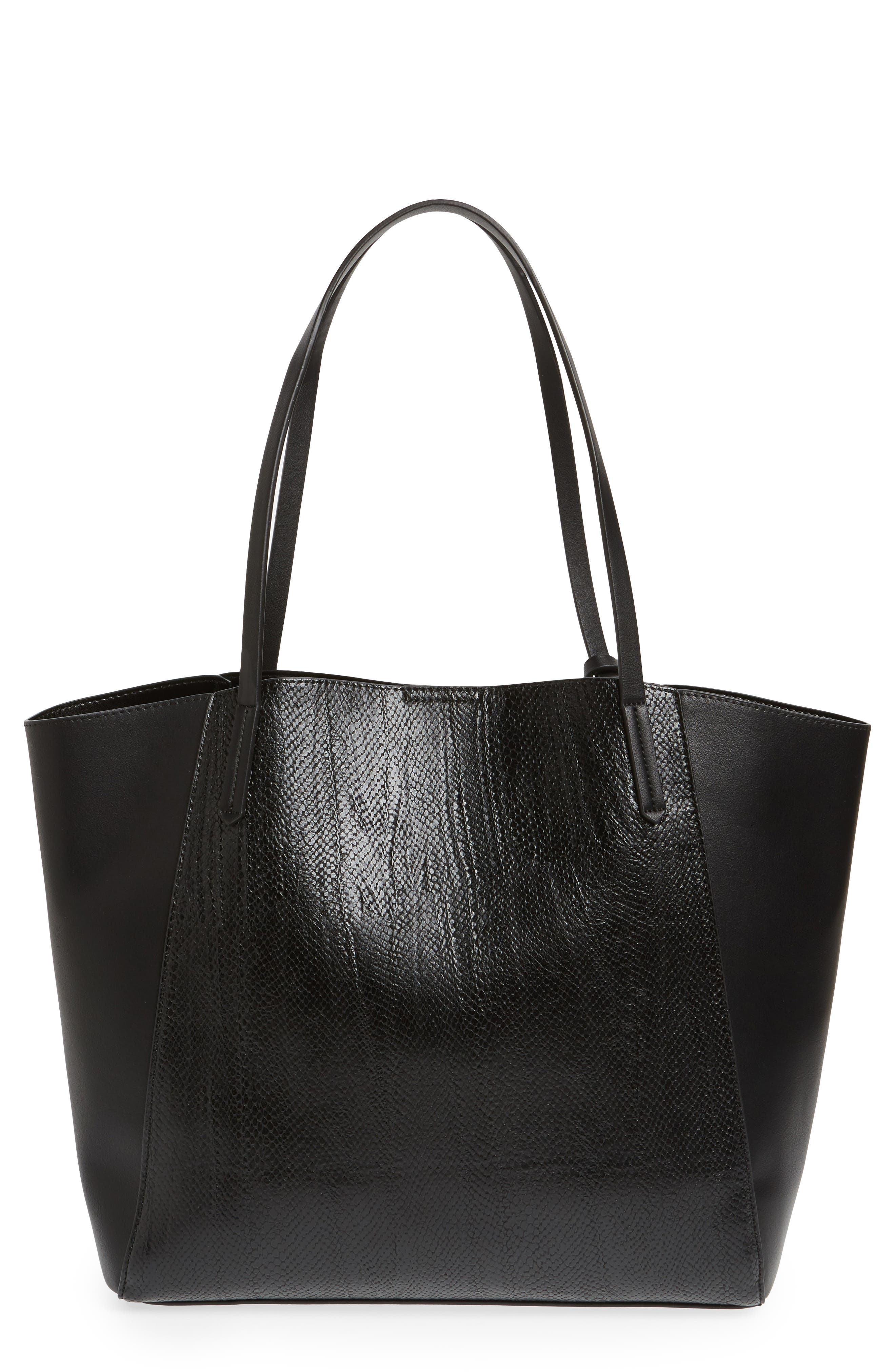 ,                             Colorblock Faux Leather Tote,                             Main thumbnail 7, color,                             001