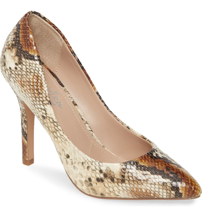 CHARLES BY CHARLES DAVID Maxx Pointy Toe Pump, Main, color, NATURAL FAUX SNAKE