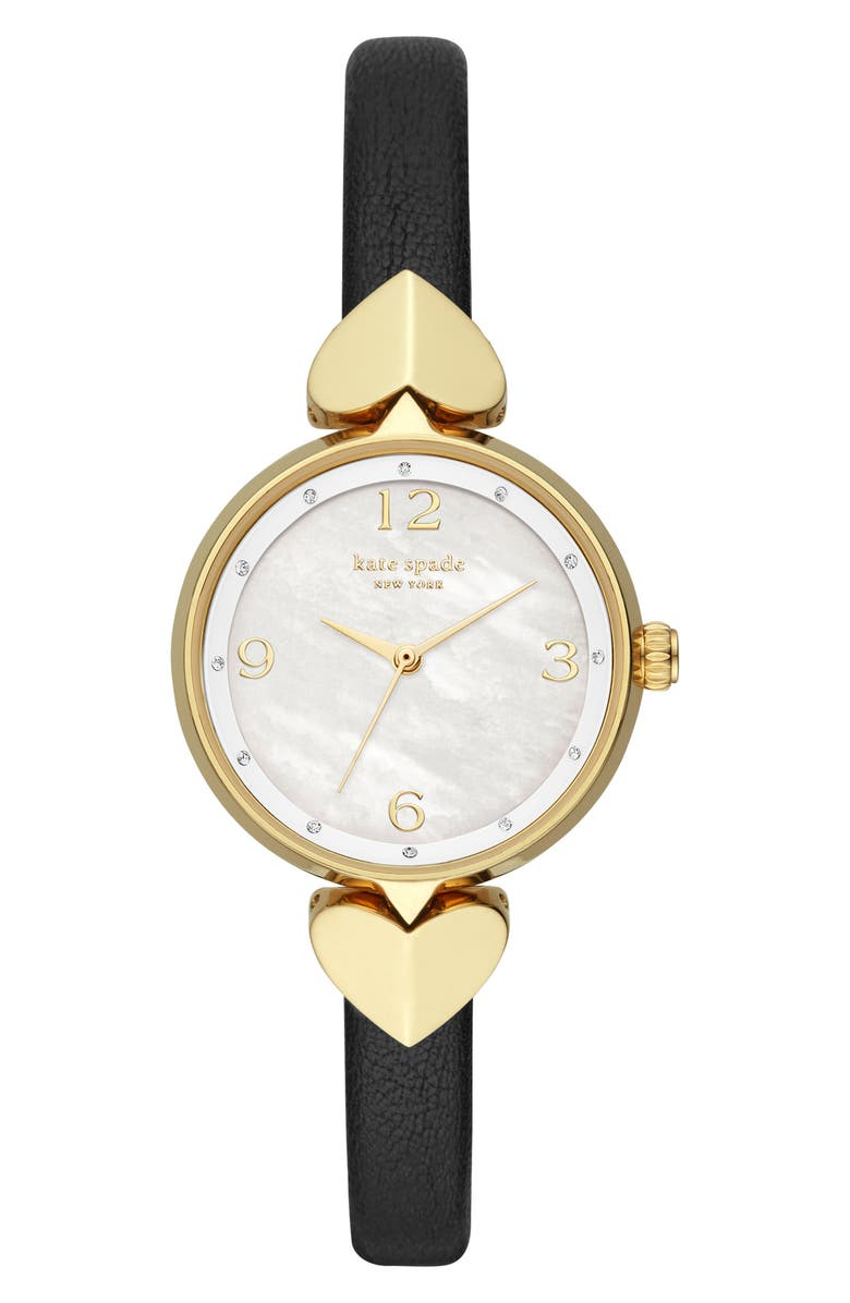 KATE SPADE NEW YORK hollis leather strap watch, 30mm, Main, color, BLACK/ MOP/ GOLD