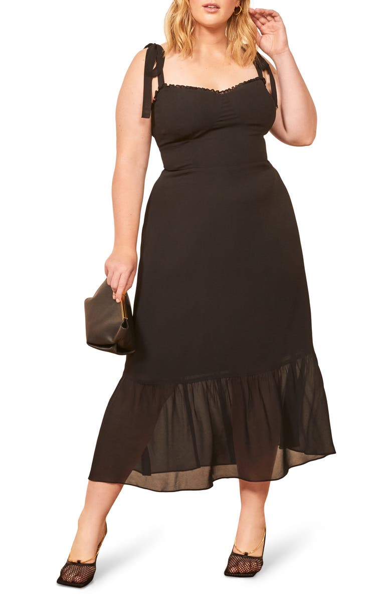REFORMATION Nikita Sweetheart Sundress, Main, color, BLACK