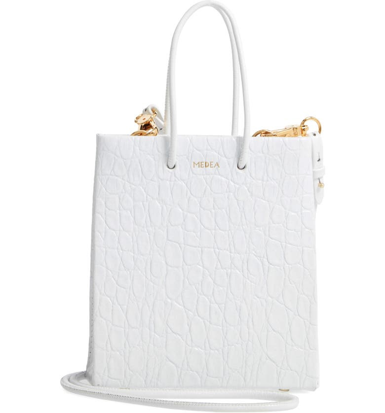 MEDEA Prima Short Croc Embossed Calfskin Leather Bag, Main, color, WHITE