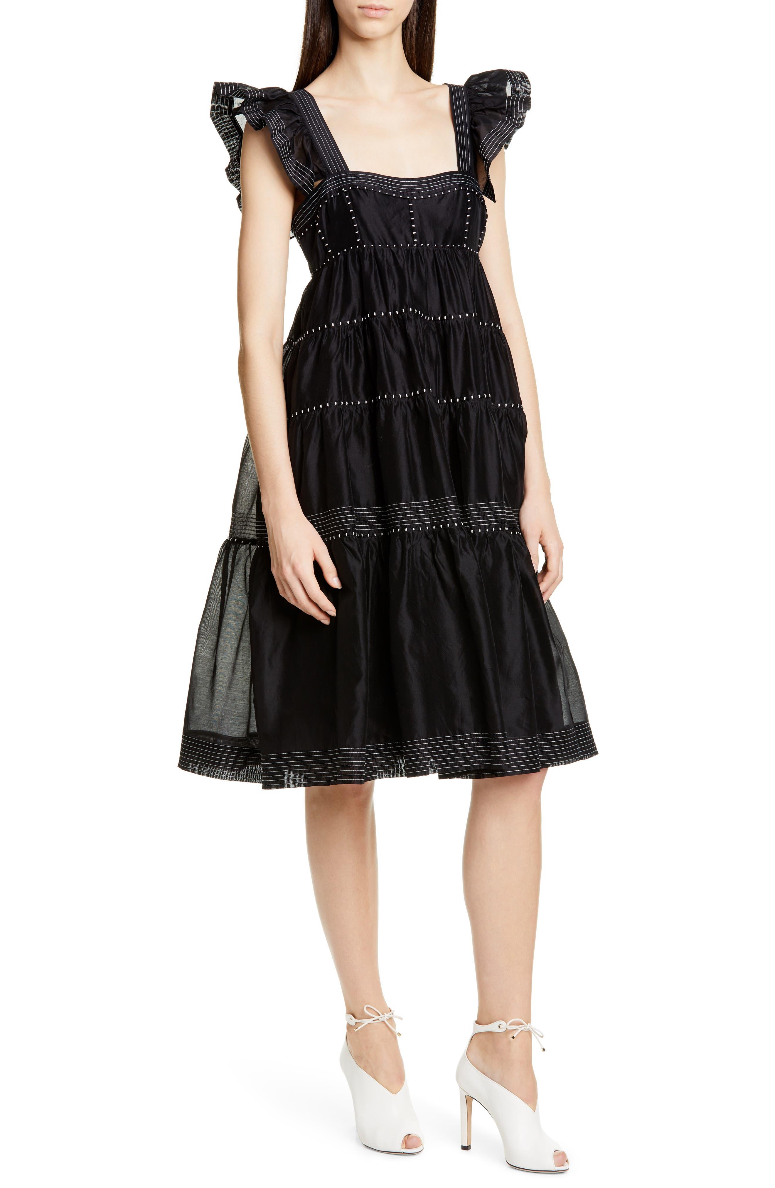 Ulla Johnson Rosalie Tiered Dress, Black