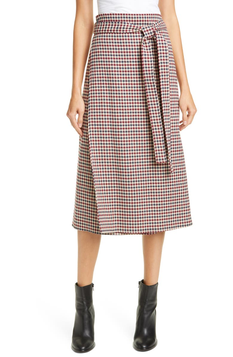 SEA Petra Houndstooth Midi Skirt, Main, color, MULTI