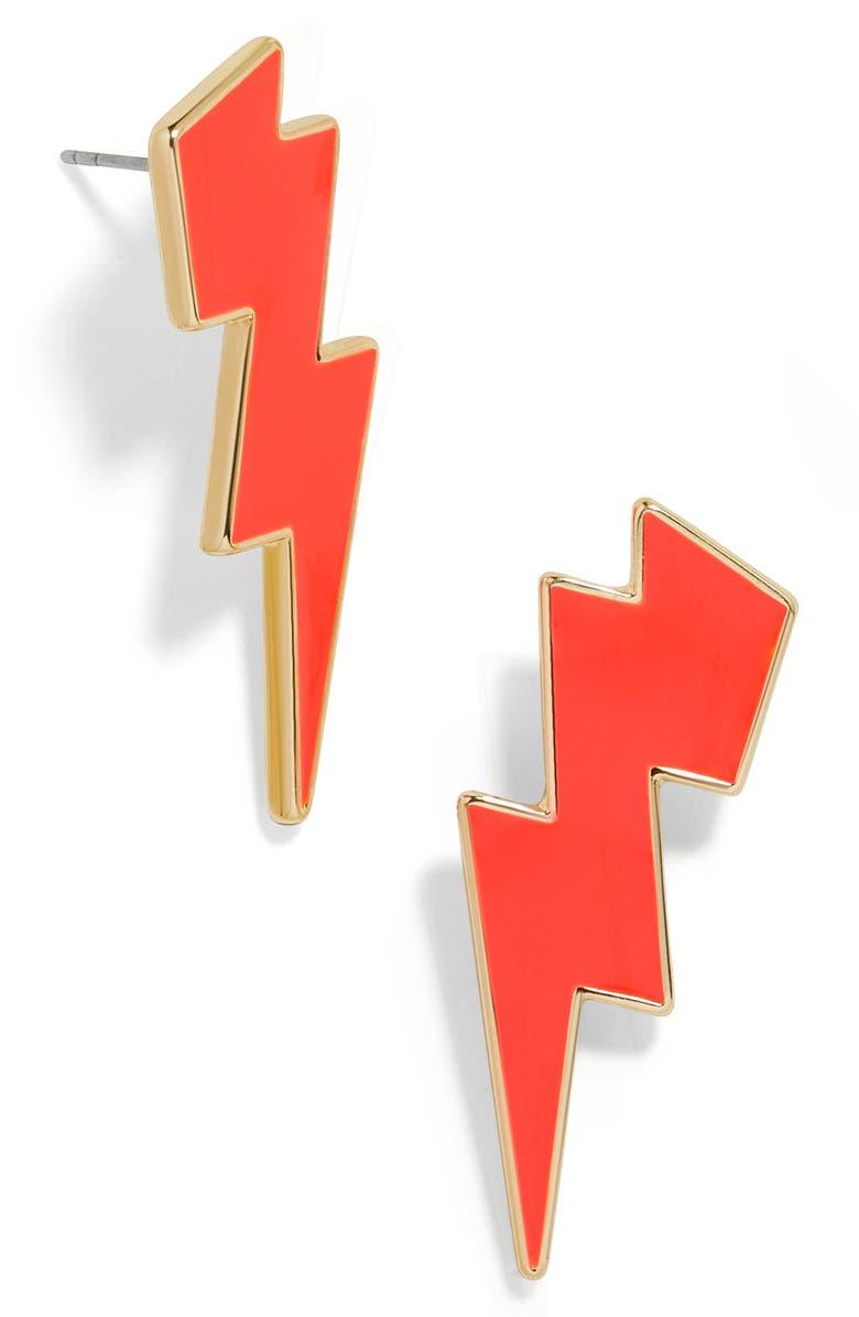 BAUBLEBAR Lightning Bolt Earrings, Main, color, RED