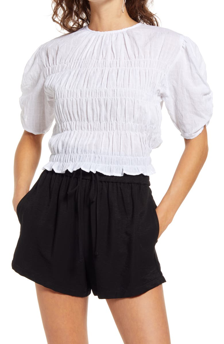 OPEN EDIT Smocked Short Sleeve Top, Main, color, WHITE