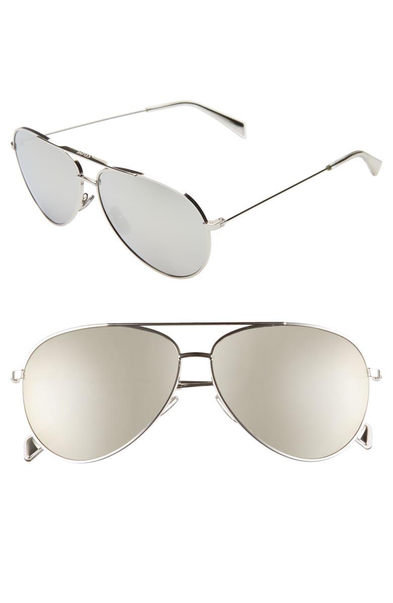 CELINE 61mm Mirrored Aviator Sunglasses, Main, color, 040