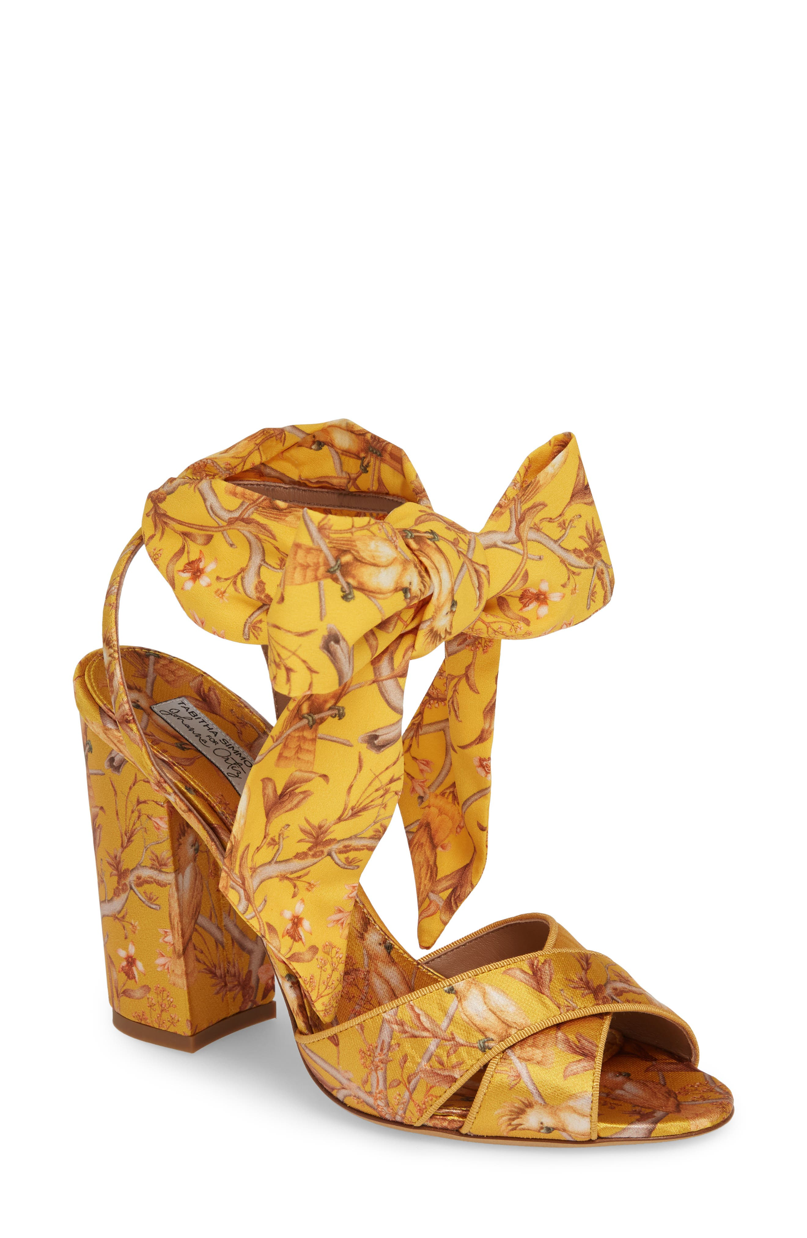 Tabitha Simmons Connie Wrap Lace-Up Sandal, Yellow