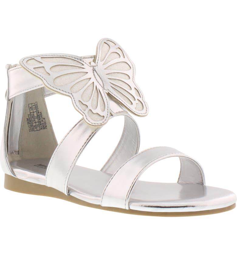 MICHAEL MICHAEL KORS Tilly Glitter Butterfly Skim Sandal, Main, color, SILVER METALLIC WHITE GLITTER