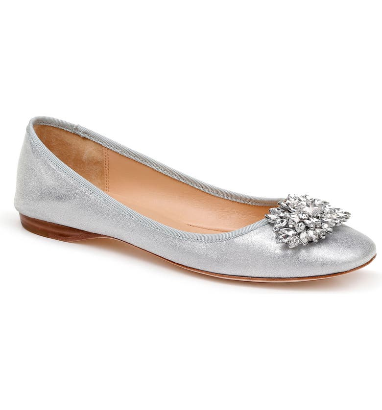BADGLEY MISCHKA COLLECTION Badgley Mischka Pippa Crystal Foldable Flat, Main, color, SILVER METALLIC SUEDE