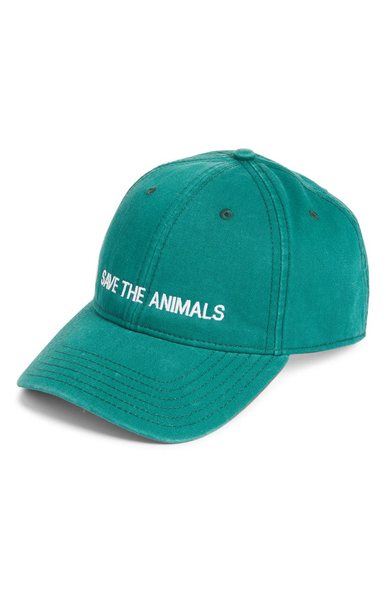 HARDING-LANE Save the Animals Embroidered Baseball Cap, Main, color, GREEN