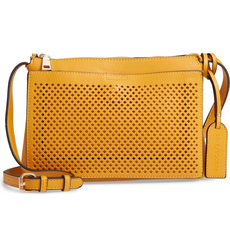 SOLE SOCIETY Nicoh Faux Leather Crossbody Bag, Main, color, MARIGOLD
