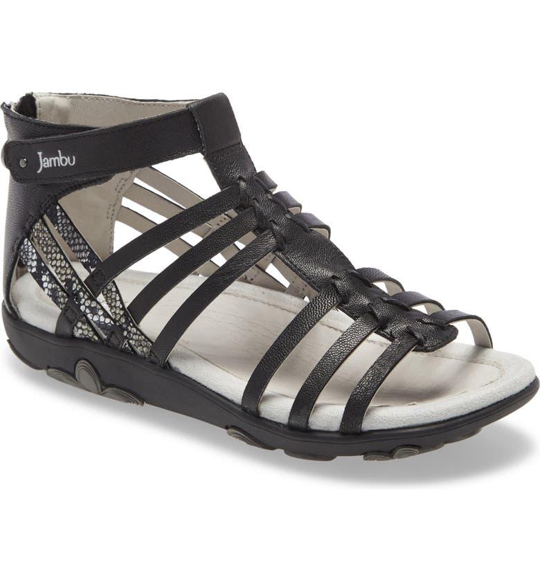 JAMBU Bonsai Gladiator Sandal, Main, color, BLACK LEATHER
