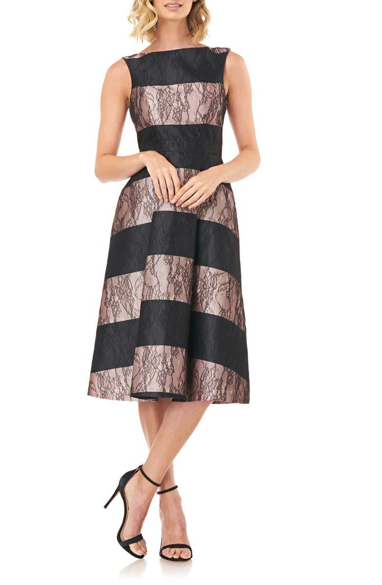 KAY UNGER Sarah Stripe Floral Lace Cocktail Dress, Main, color, 650
