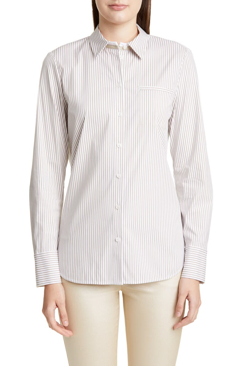 LAFAYETTE 148 NEW YORK Paget Courtland Stripe Blouse, Main, color, DUNE MULTI