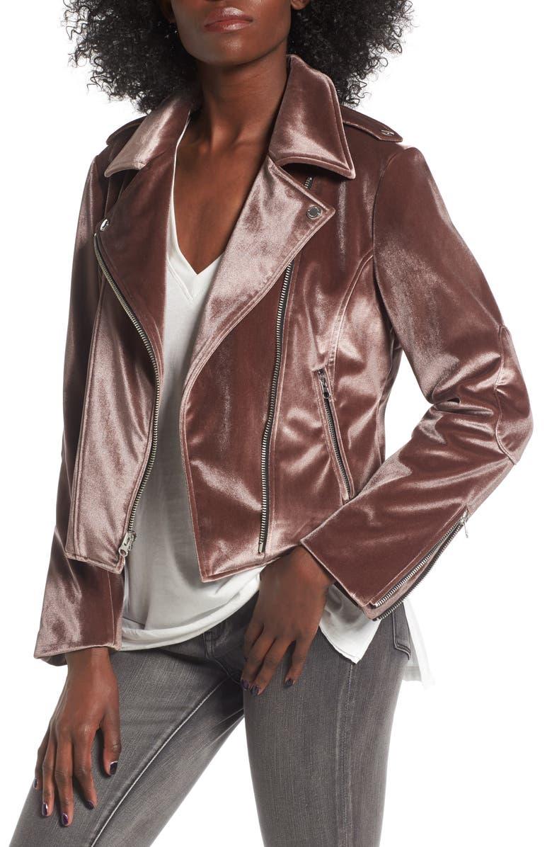 BCBGENERATION Velvet Moto Jacket, Main, color, 256