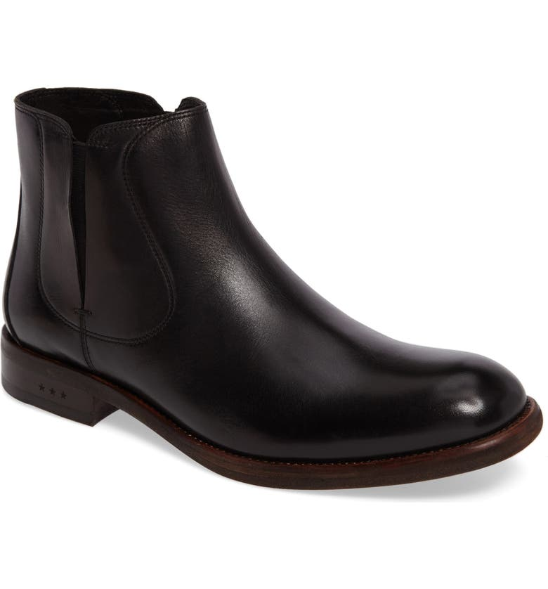 JOHN VARVATOS STAR USA Waverley Chelsea Boot, Main, color, BLACK LEATHER