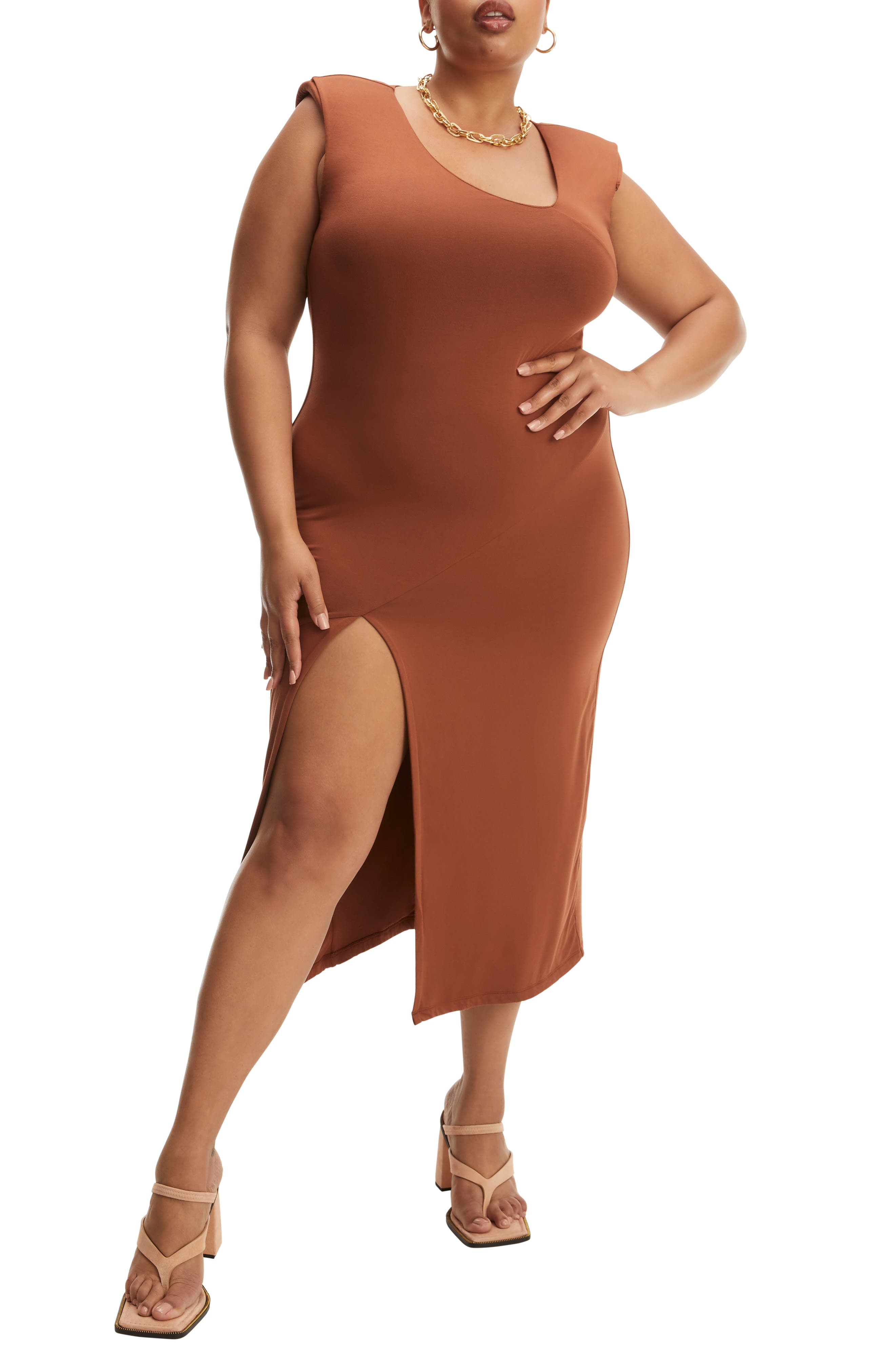 Asymmetrical Neck Sleeveless Midi Dress
