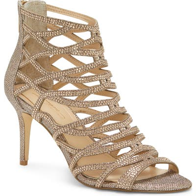 Imagine Vince Camuto Paven Crystal Cage Sandal, Metallic
