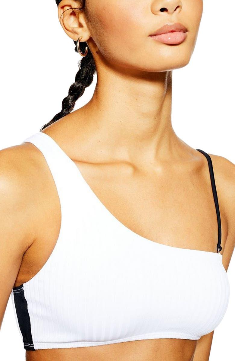 TOPSHOP Ribbed Contrast Shoulder Bikini Top, Main, color, 100