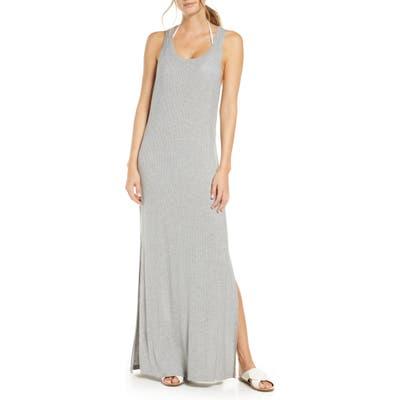 Chelsea28 Sleeveless Ribbed Maxi Cover-Up Dress, Grey