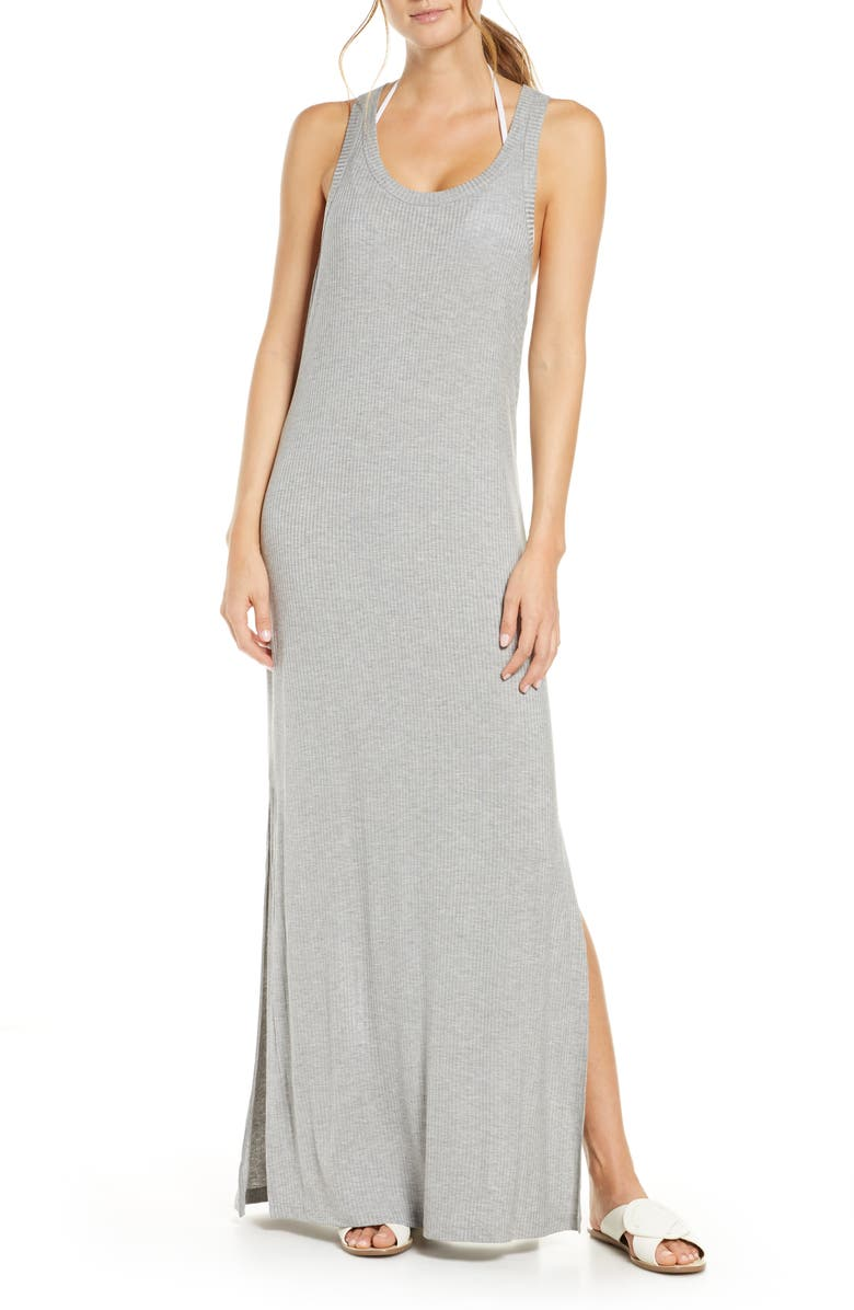 CHELSEA28 Sleeveless Ribbed Maxi Cover-Up Dress, Main, color, GREY HEATHER