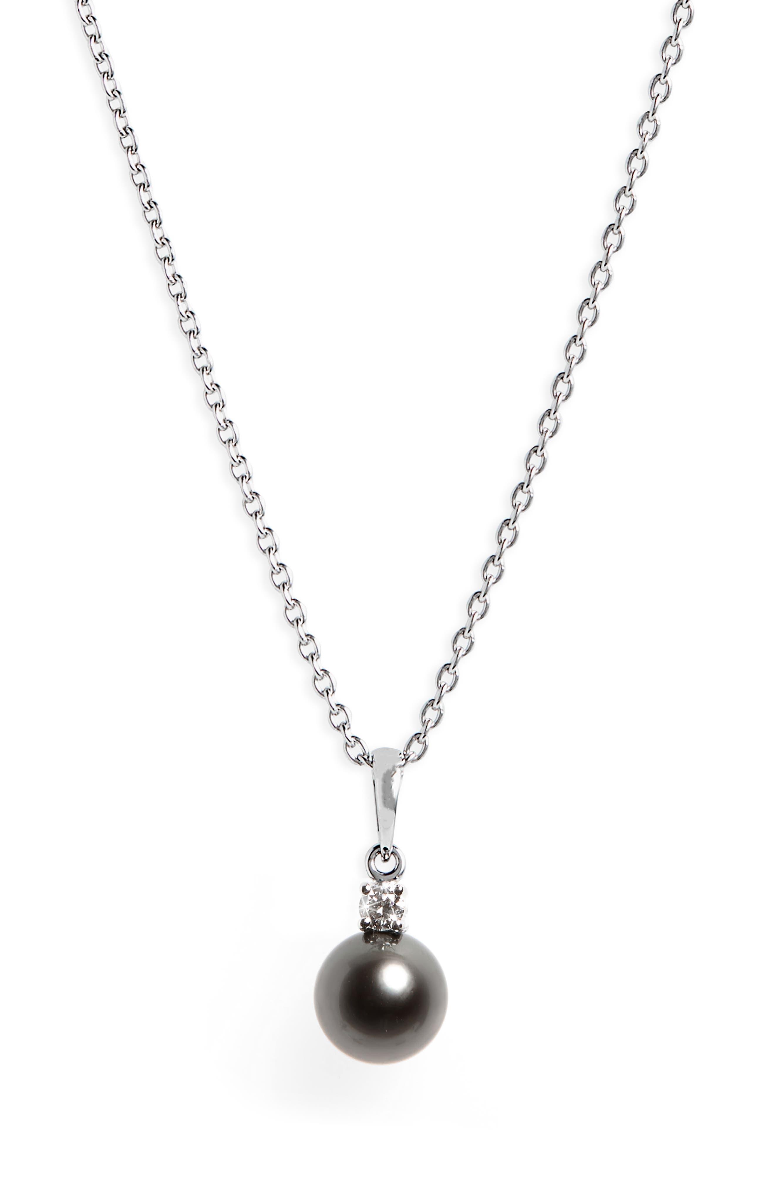 Diamond & Black Cultured Pearl Pendant Necklace, Main, color, WHITE GOLD
