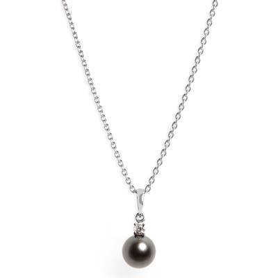 Mikimoto Diamond & Black Cultured Pearl Pendant Necklace