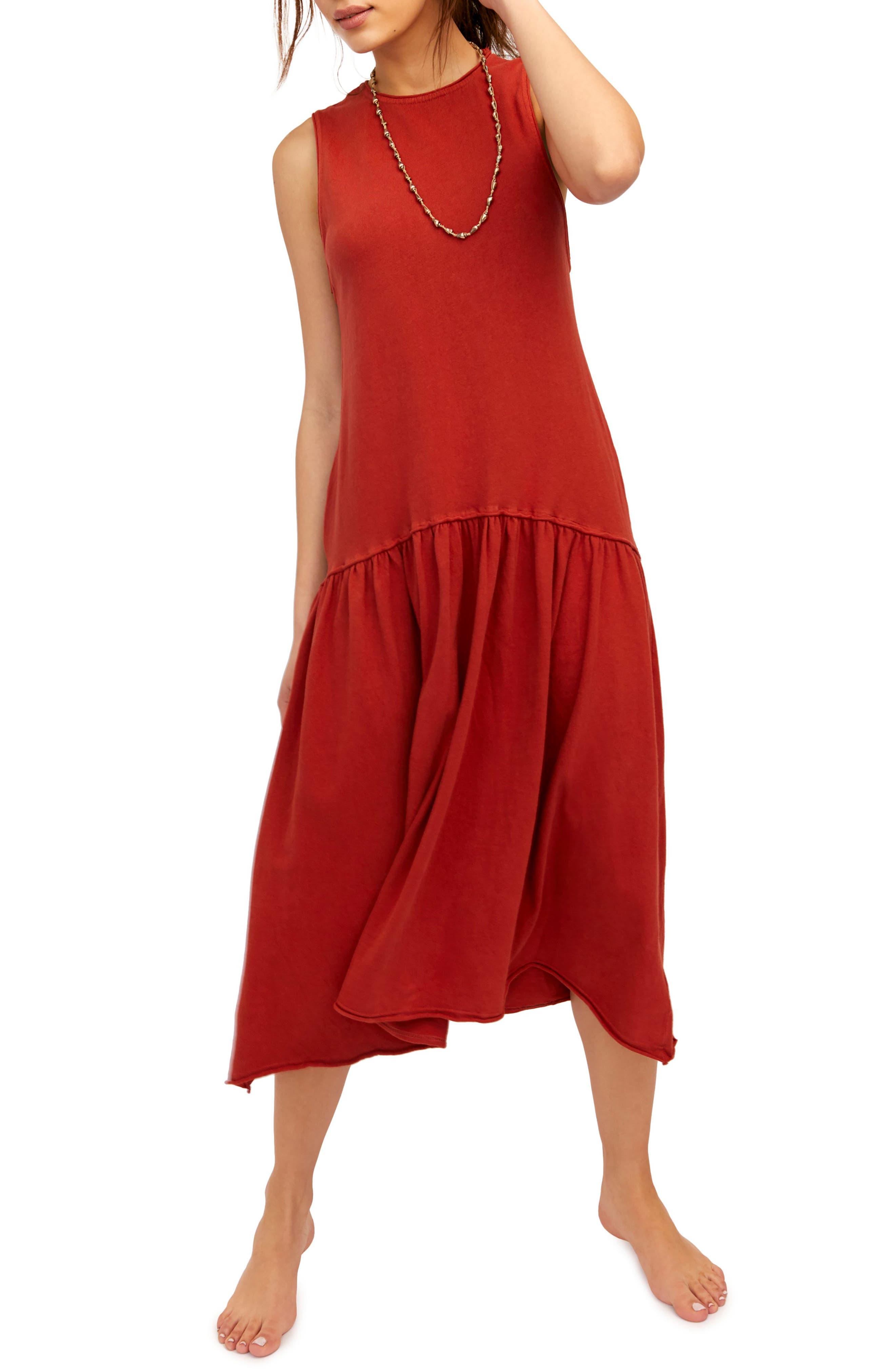 Endless Summer By Free People Drop Waist Midi Dress, Orange
