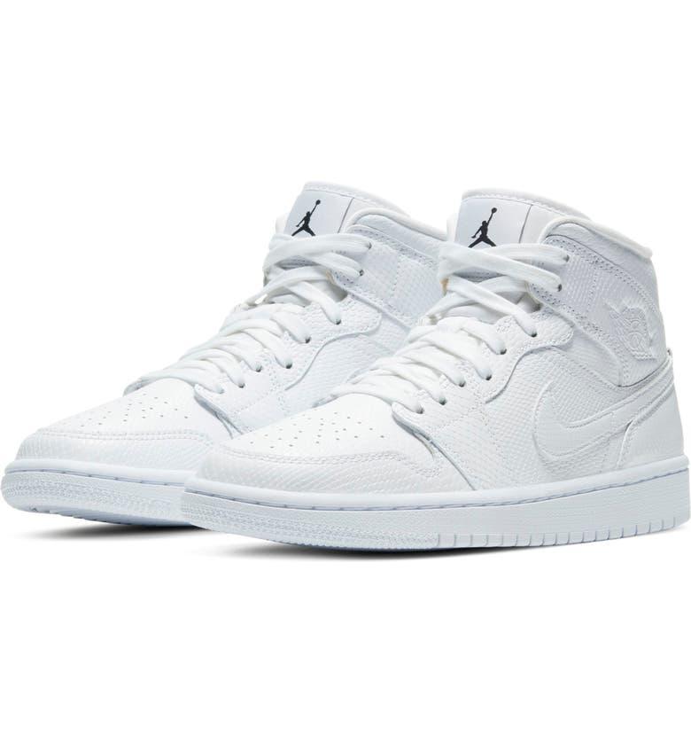 JORDAN Air Jordan 1 Mid Sneaker, Main, color, WHITE/ WHITE/ WHITE/ WHITE