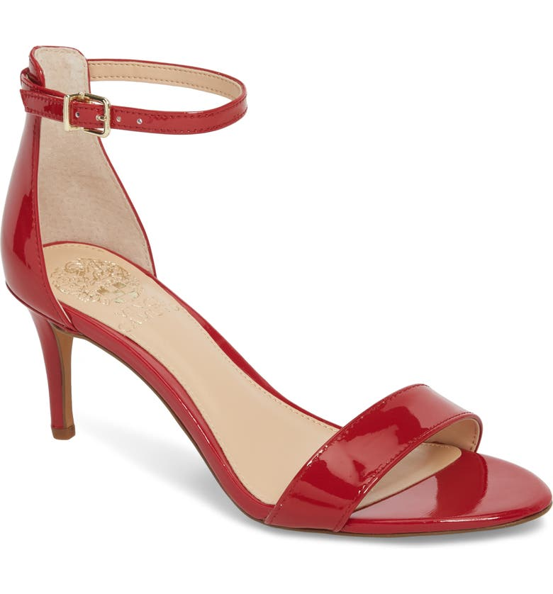 VINCE CAMUTO Sebatini Sandal, Main, color, CHERRY RED PATENT LEATHER