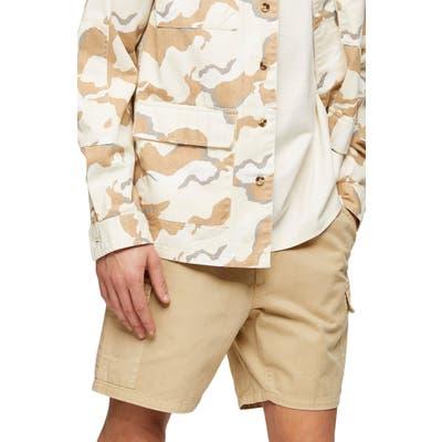 Topman Slim Fit Drawstring Cargo Shorts, Beige