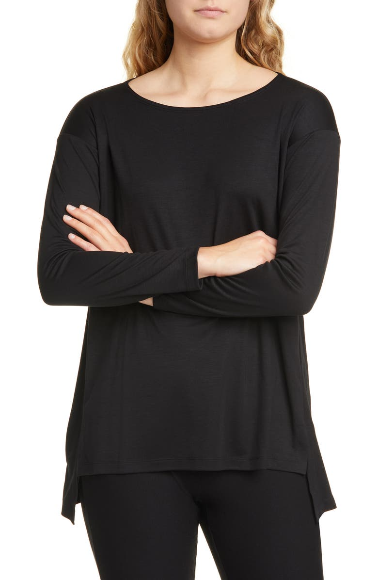 EILEEN FISHER Ballet Neck Long Sleeve Top, Main, color, BLACK