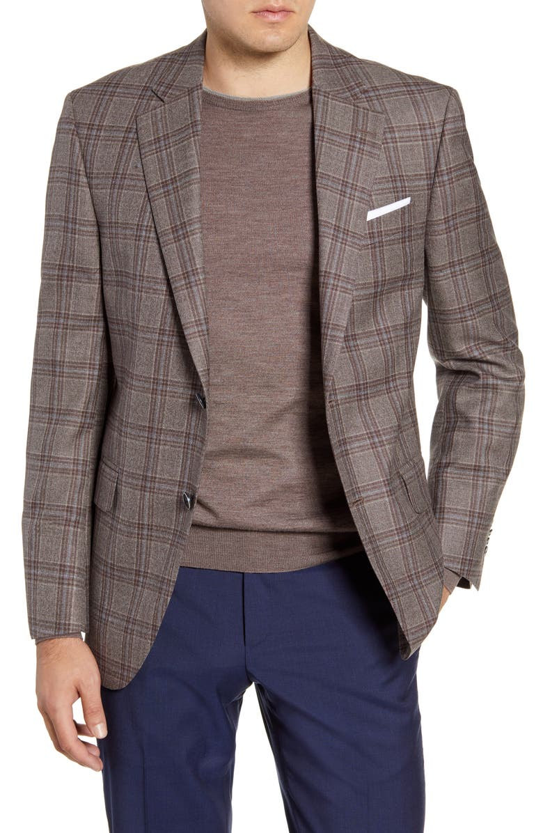 PETER MILLAR Flynn Classic Fit Plaid Wool Sport Coat, Main, color, 200