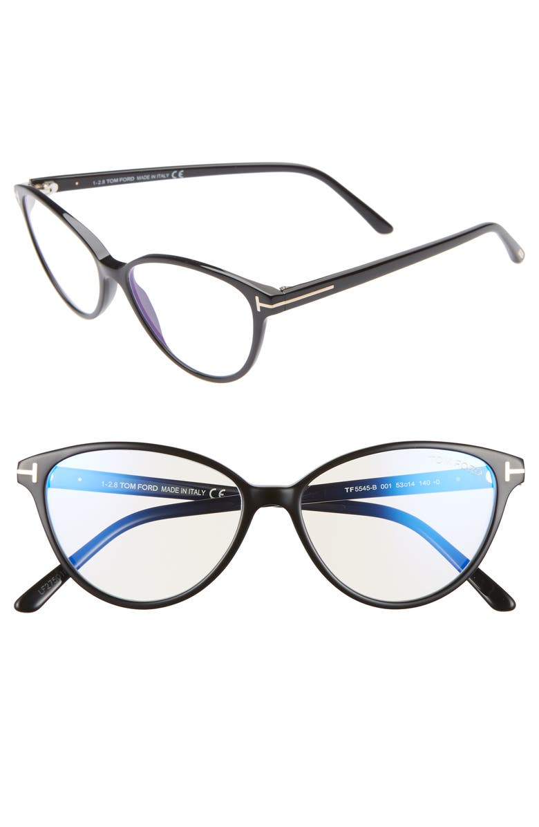 TOM FORD 53mm Cat Eye Blue Light Blocking Glasses, Main, color, BLACK