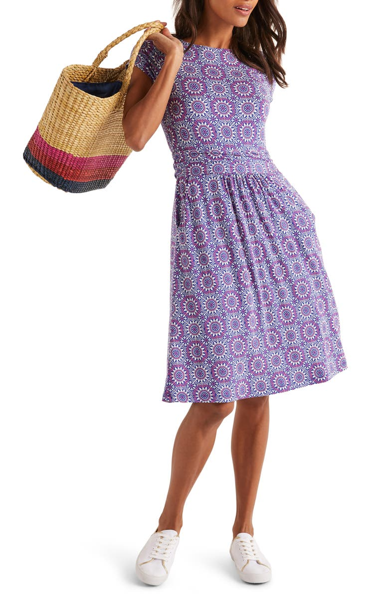 BODEN Amelie Print Jersey Dress, Main, color, BLUE SUN TILE