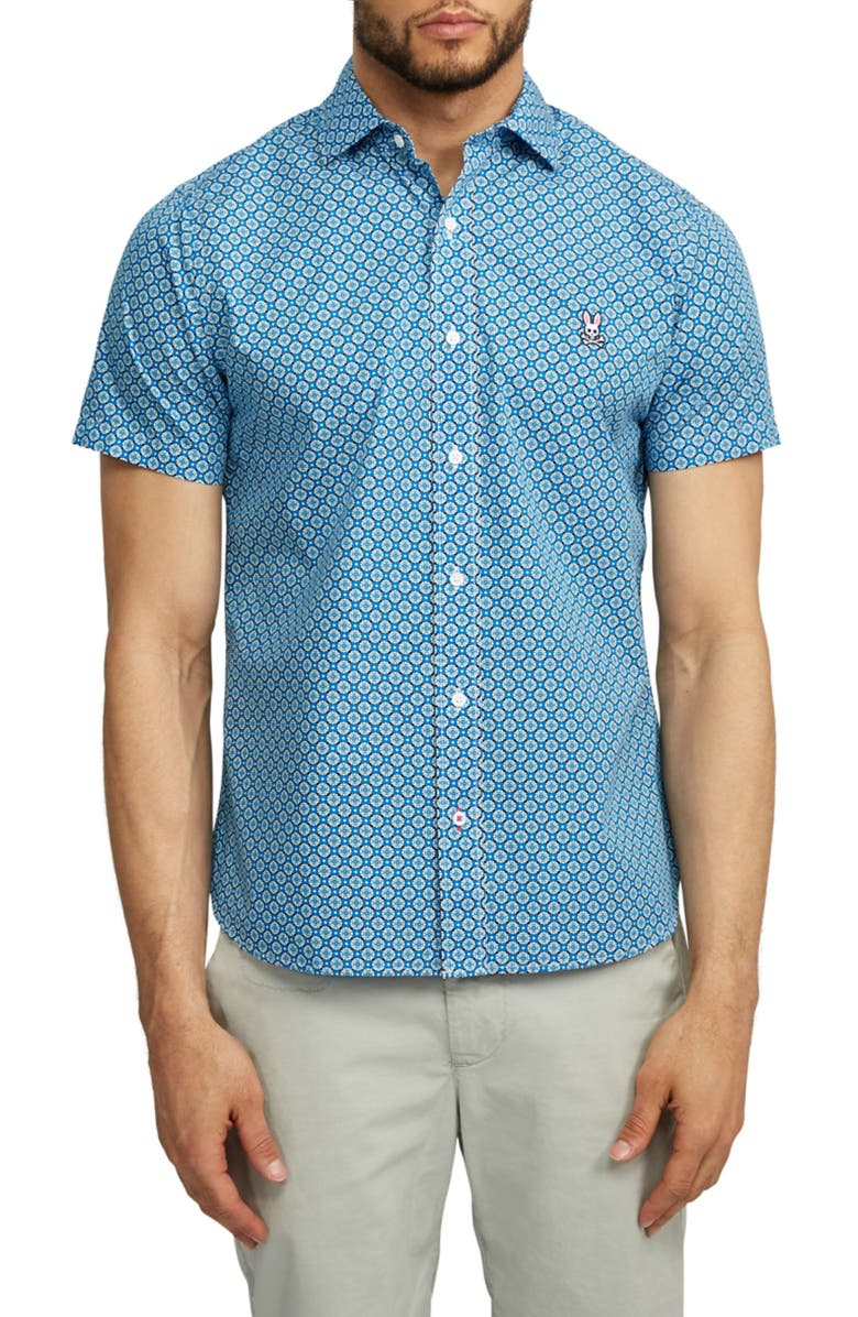 PSYCHO BUNNY Darwell Short Sleeve Pima Cotton Button-Up Shirt, Main, color, SEAPORT
