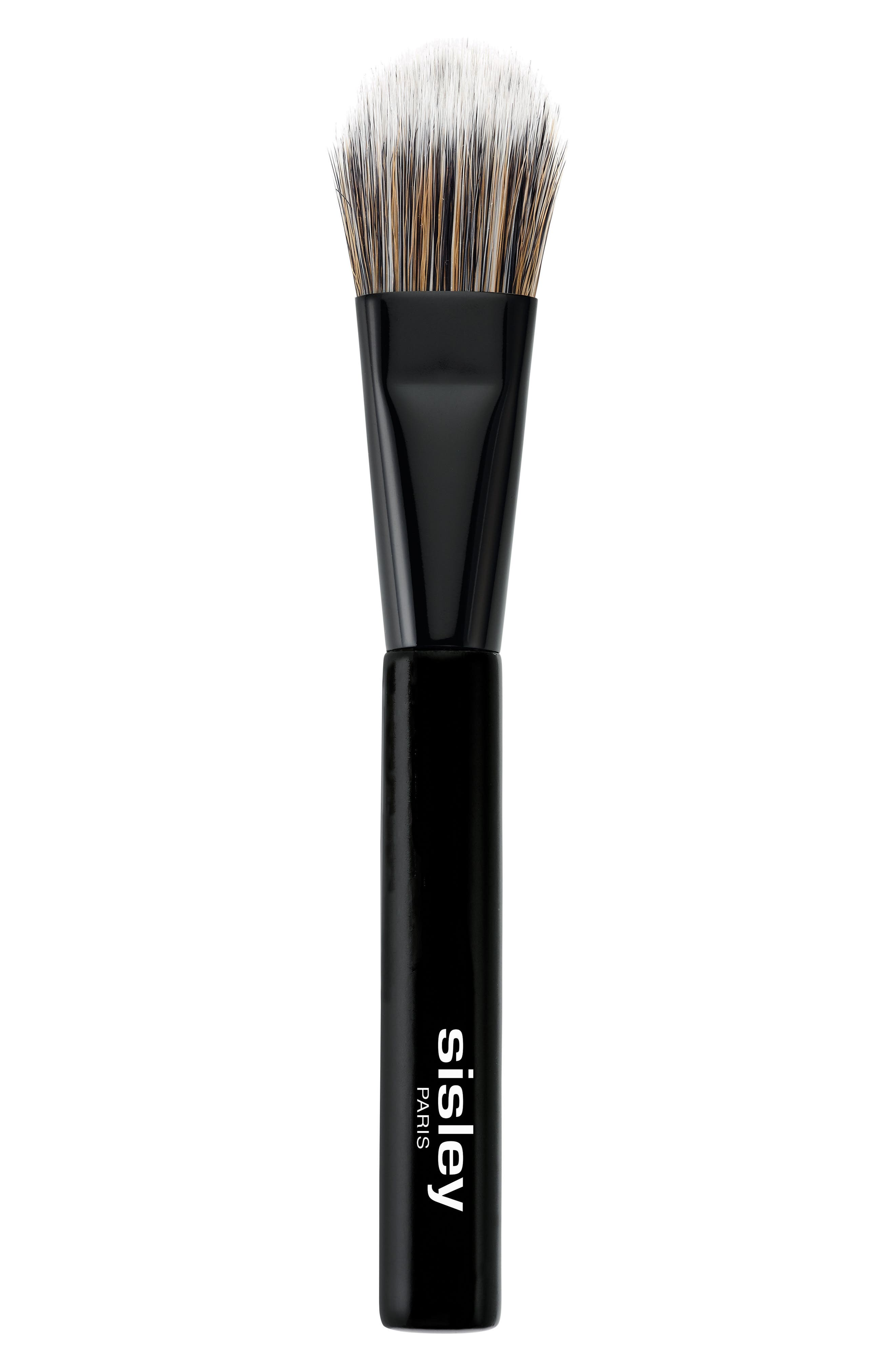 What it is: A synthetic-bristle foundation brush with a tapered, rounded, flat head that provides natural to full coverage. What it does: Ideal for use with cream or liquid products, this brush is designed for the easy, allover face application of foundation. It perfectly blends makeup for an even complexion. How to use: Dispense a dime-sized amount of foundation onto the back of the hand. Take a small amount of product using the brush and apply