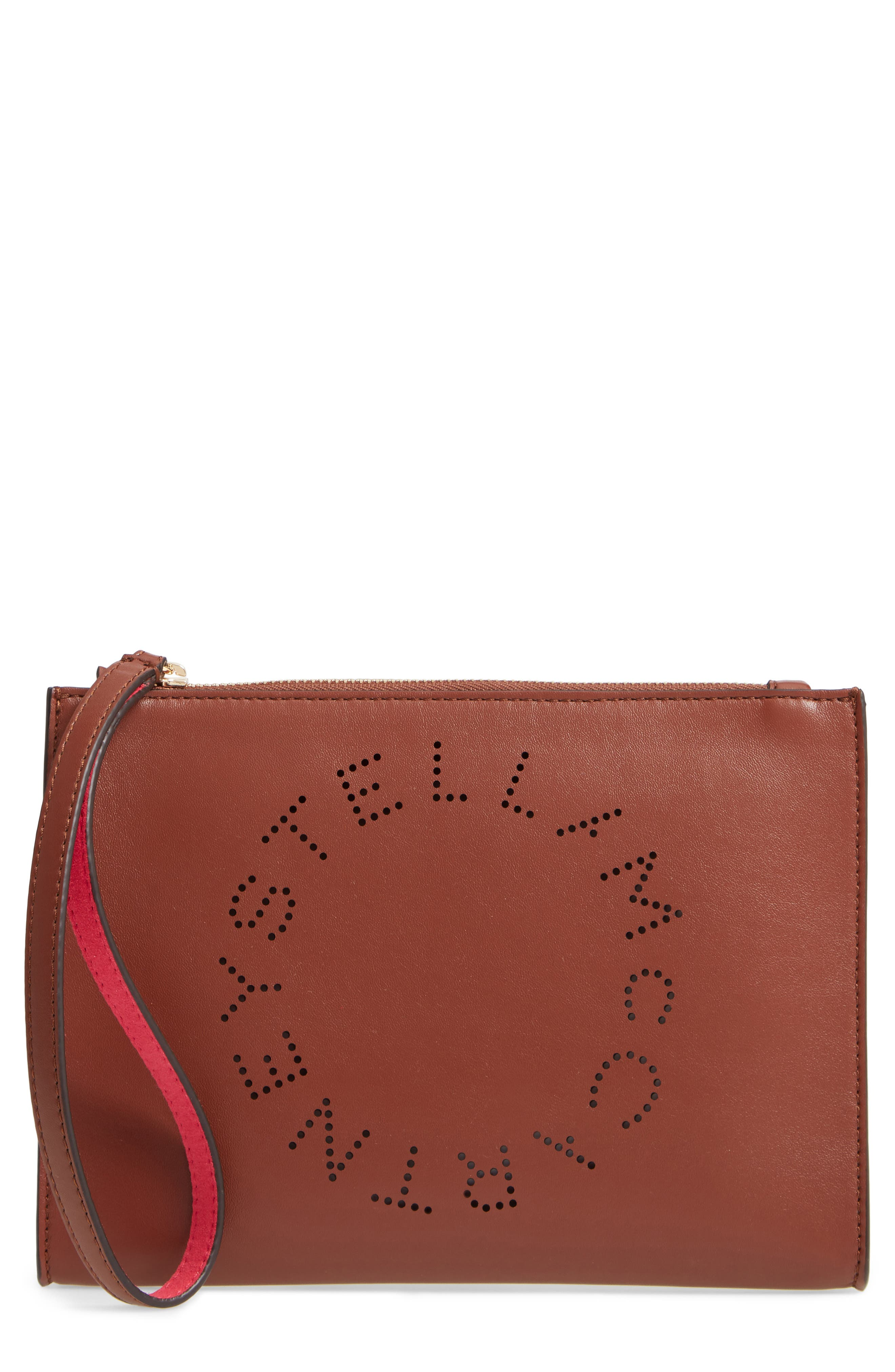 Stella Mccartney Alter Faux Nappa Leather Wristlet Clutch - Brown