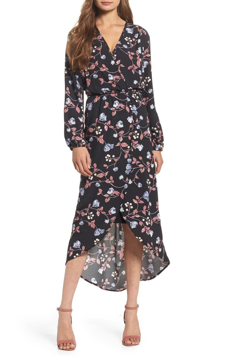 FRAICHE BY J Wrap High/Low Dress, Main, color, 005