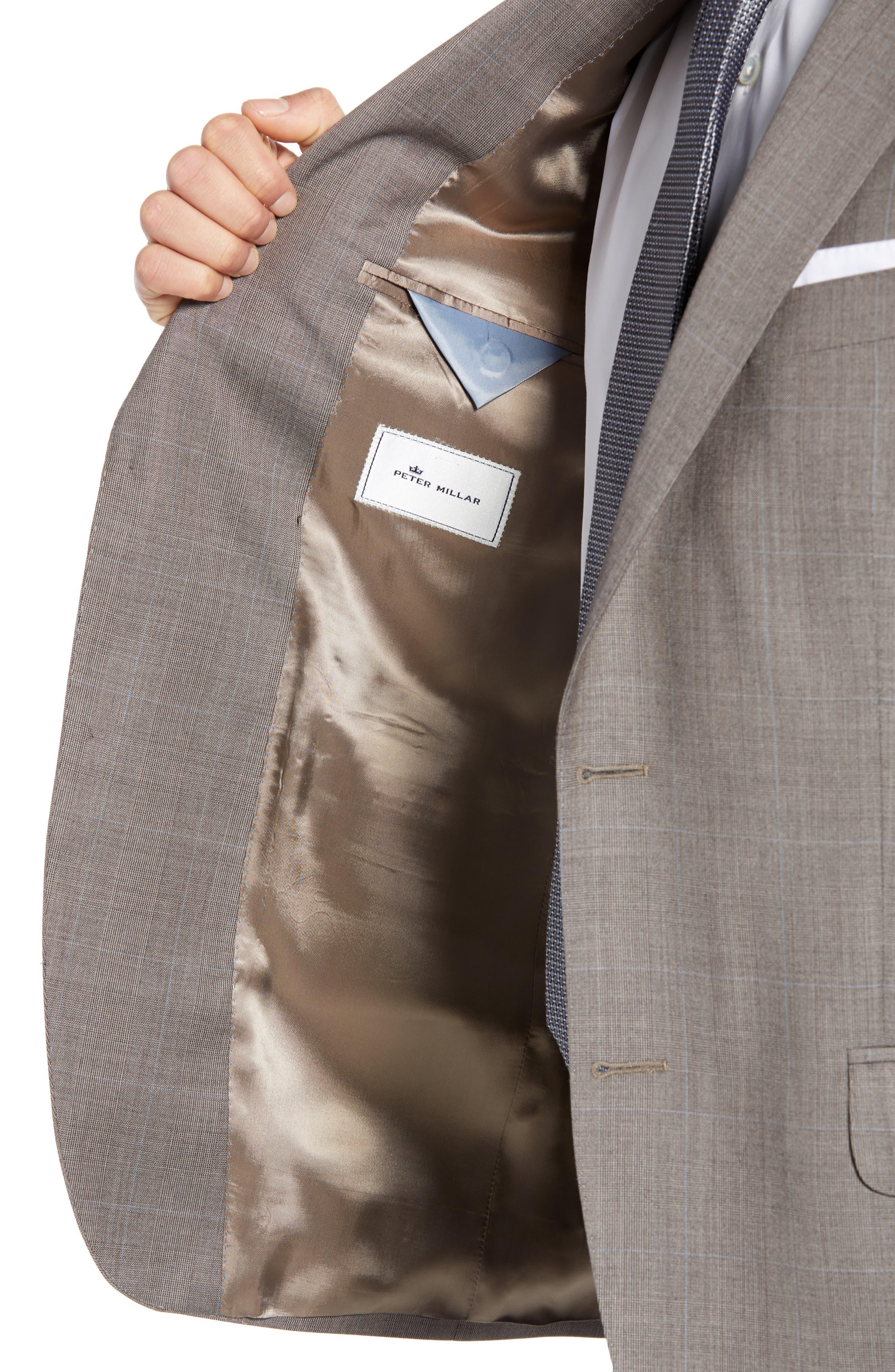 ,                             Flynn Classic Fit Windowpane Wool Suit,                             Alternate thumbnail 4, color,                             TAN