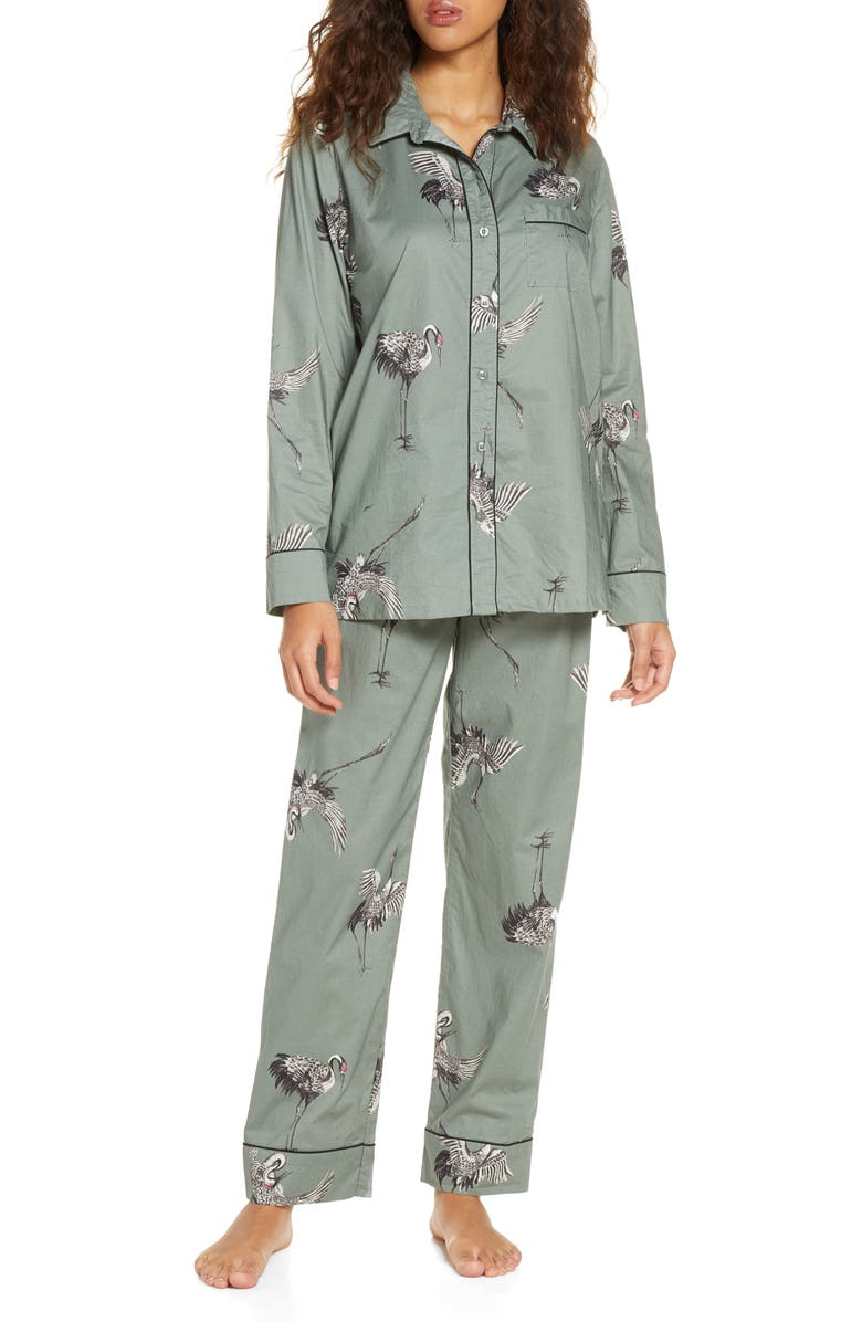 NORDSTROM Lingerie Classic Cotton Pajamas, Main, color, GREEN HALO CRANES