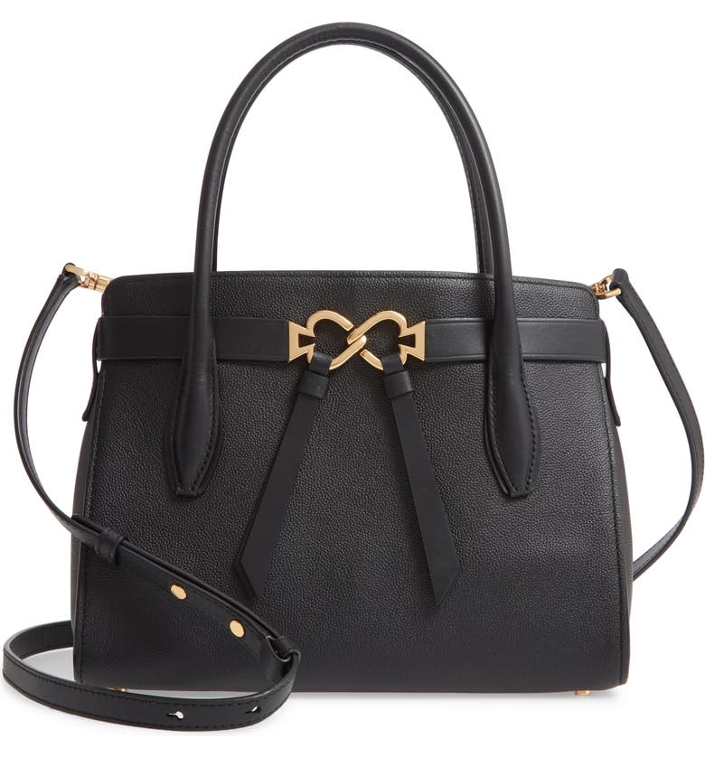 KATE SPADE NEW YORK medium toujours leather satchel, Main, color, BLACK