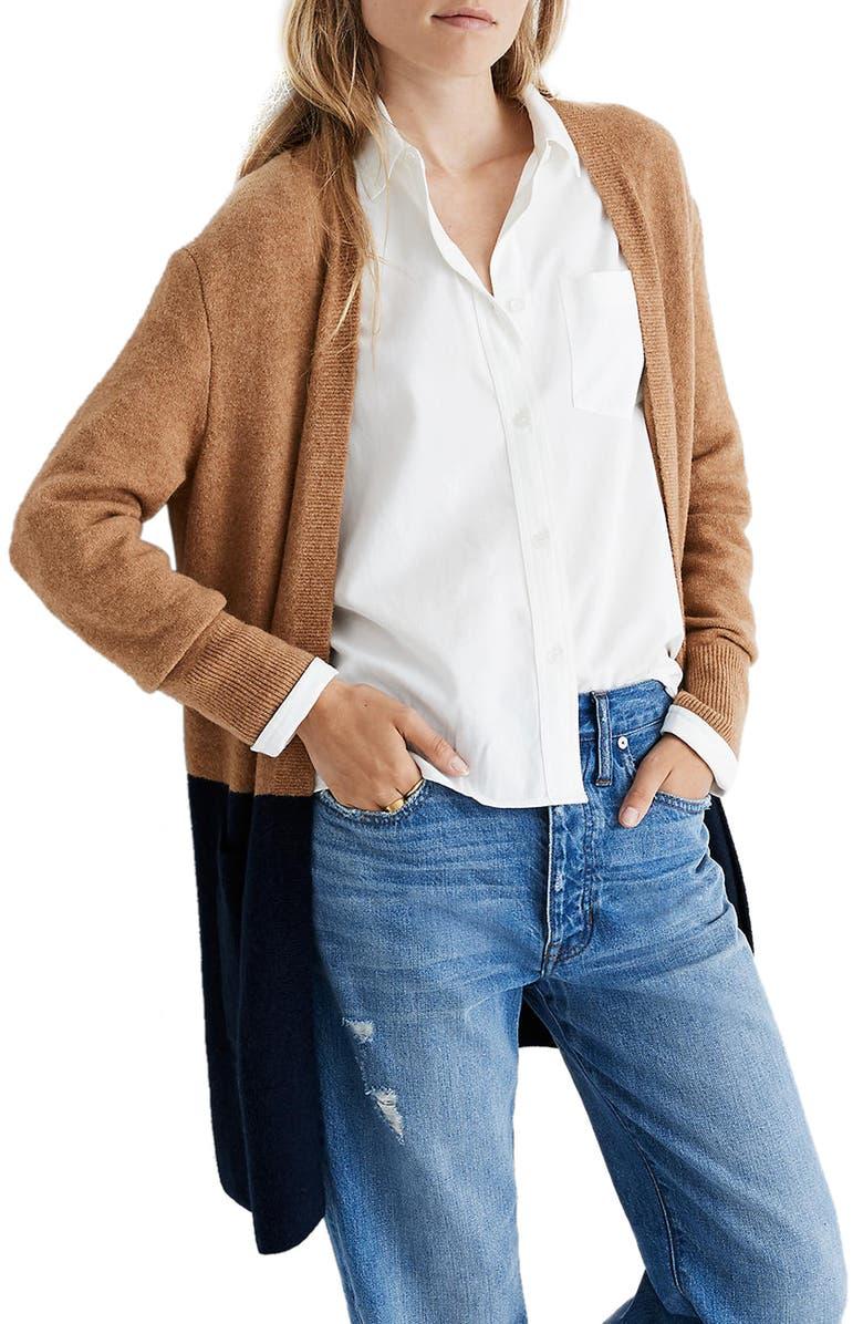MADEWELL Kent Colorblock Cardigan Sweater, Main, color, HEATHER TIMBER