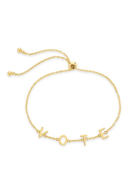 Image of Sterling Forever 14K Gold Plated Vote Bolo Bracelet