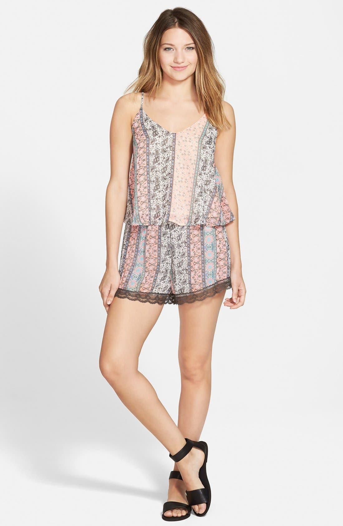 ,                             Lace Trim Floral Print Shorts,                             Alternate thumbnail 37, color,                             950